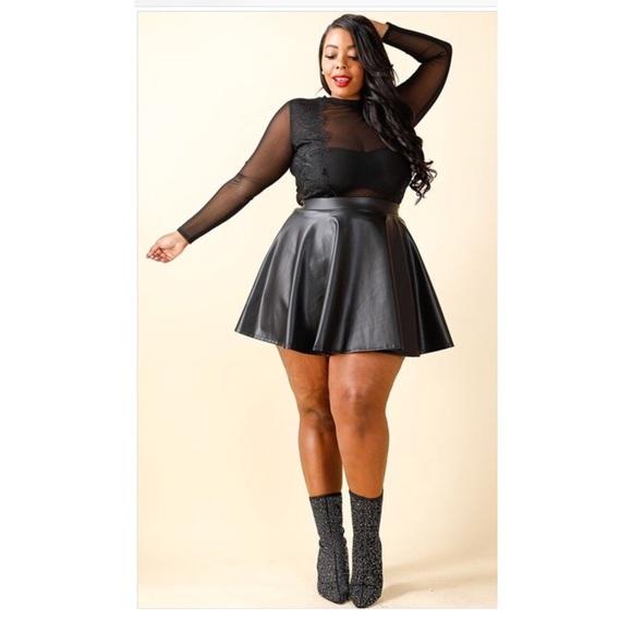 Black Plus size Skater Skirt